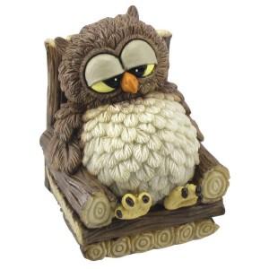 Funny gufi eule sitzt entspannt auf holzstuhl ebay for Holzstuhl bunt